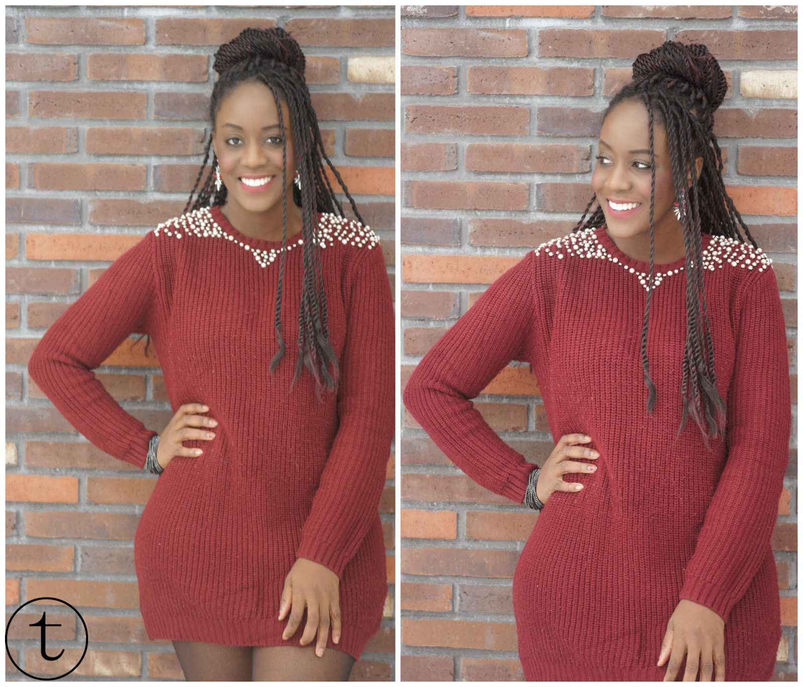 burgundy pullover outfit with pearls