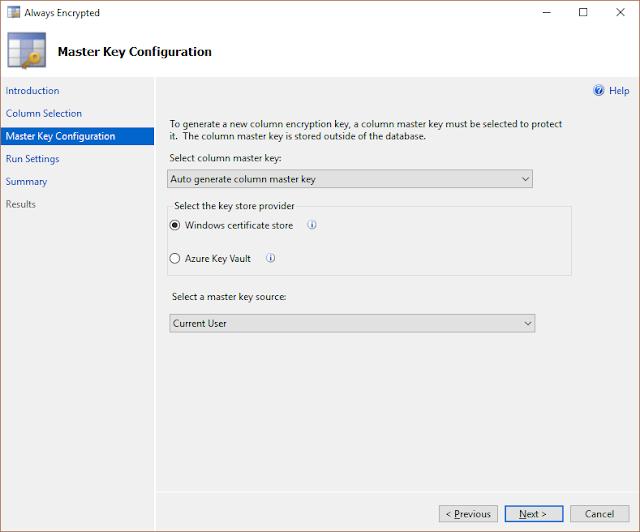 SQL Server 2016 Yenilikleri - Always Encrypted Wizard - Column Master Key