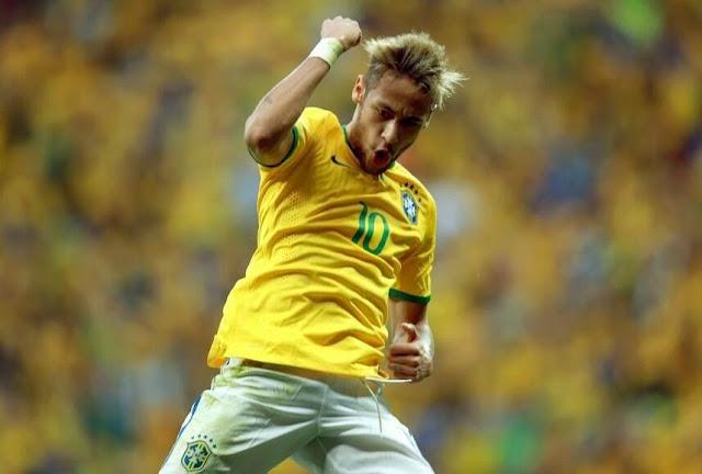 Neymar celebrates goal against cameroon