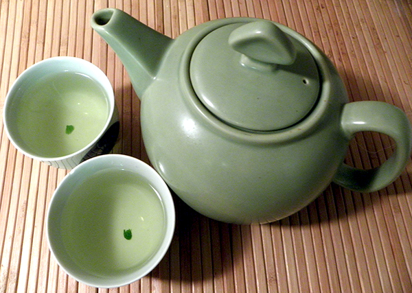 Mint Tea in Pot and Poured into Two Teacups