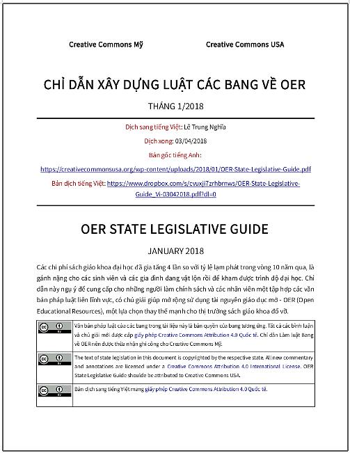 'Chỉ dẫn xây dựng luật các bang về OER' - bản dịch sang tiếng Việt