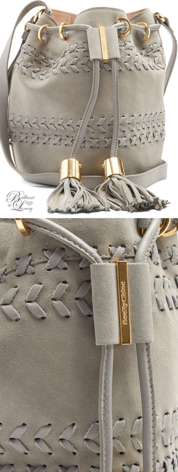 Brilliant Luxury ♦ Chloé Vicki small suede and leather bucket bag
