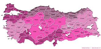 Mor renkli Türkiye Bölgeler ve İller haritası