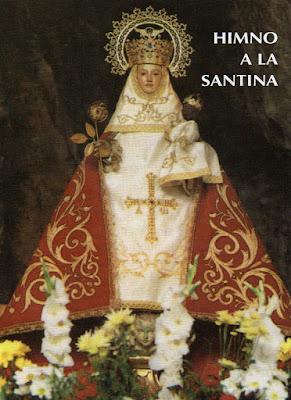 Virgen de Covadonga en un díptico con el Himno de Covadonga