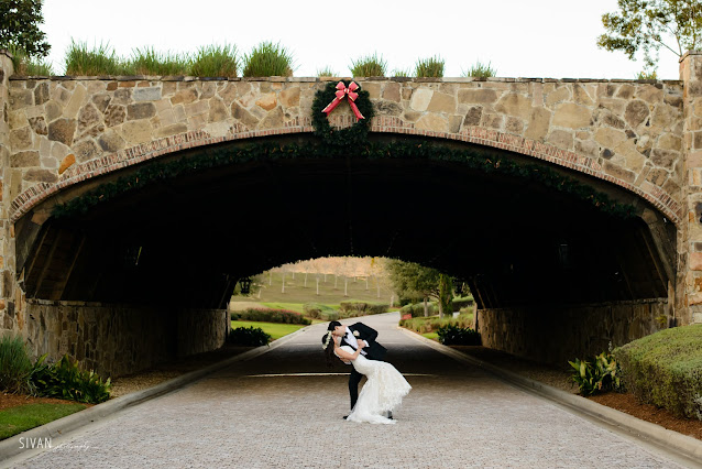 bride and groom by bridge photo