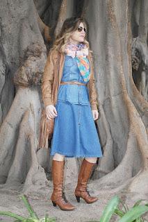 Falda de capa vaquera, outfit. Tendencia 2015