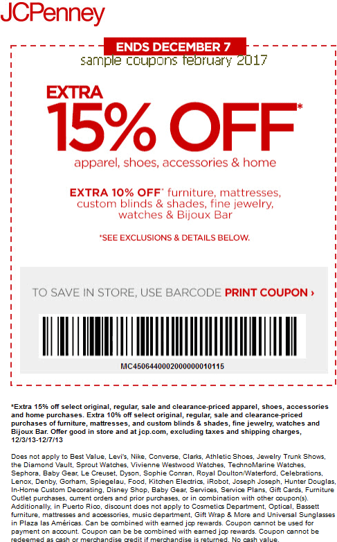 Jcp printable coupons september 2018