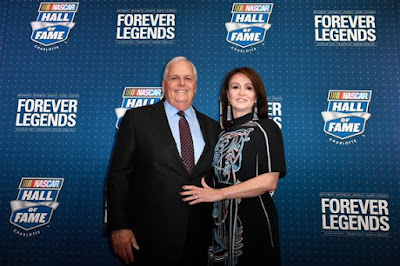 Rick Hendrick poses on the red carpet with his wife Linda.
