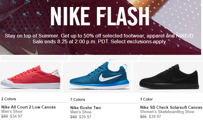 26240323b4e Nike Flash Sale Up to 50% Off  Men s Nike Roshe Two Sneakers  39.97 ...