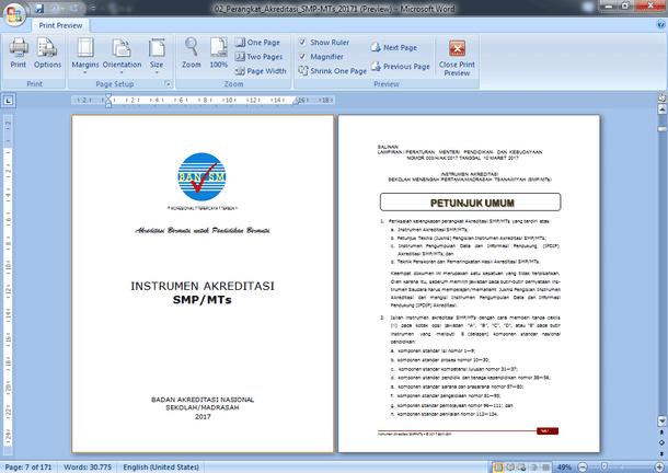 Instrumen dan Perangkat Akreditasi SMP-MTs 2017 Format Microsoft Word
