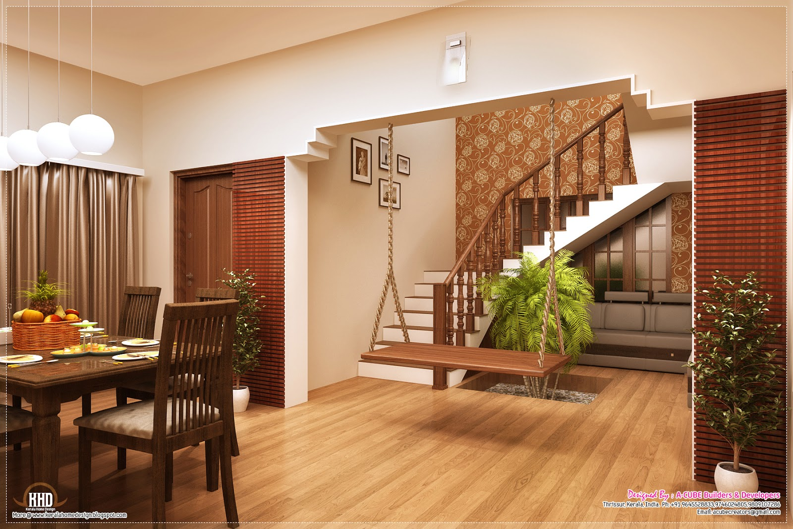 Dining and stair design & Awesome interior decoration ideas - Kerala home design and floor plans