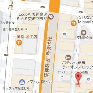 大阪JOULEの周辺地図、アメリカ村の三角公園が目印