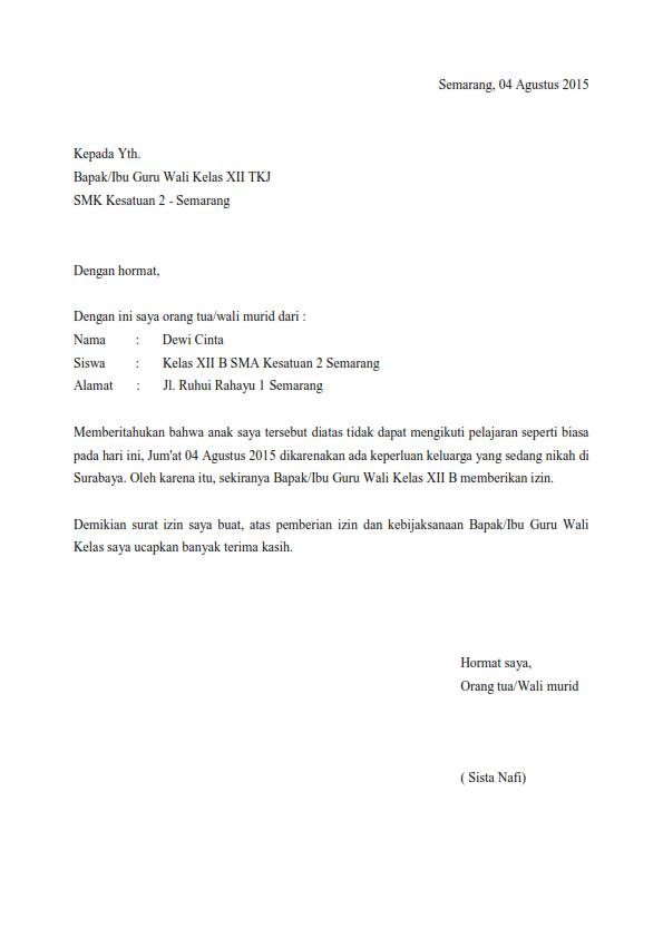 Contoh Surat Izin Sekolah Keperluan Keluarga