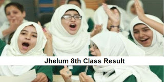 Jhelum 8th Class Result 2018 PEC - BISE Jhelum Board Announced Today