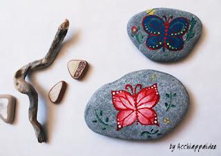 come dipingere farfalla sui sassi