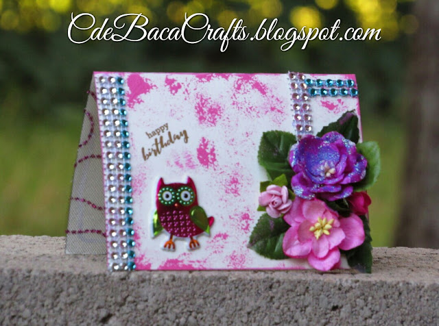 Handmade card with Owl stickers and paper flowers by CdeBaca Crafts Blog
