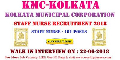 Kolkata Municipal Corporation Staff Nurse Recruitment 2018