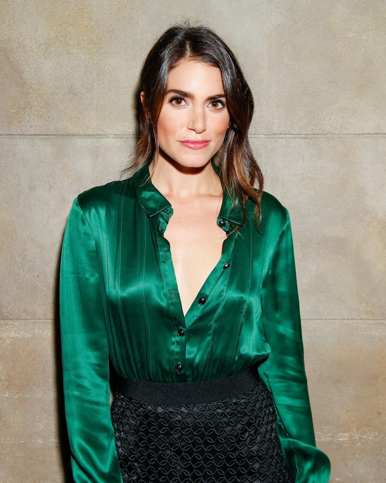 9bfe74e5625 Ladies in Satin Blouses: Nikki Reed - green satin blouse