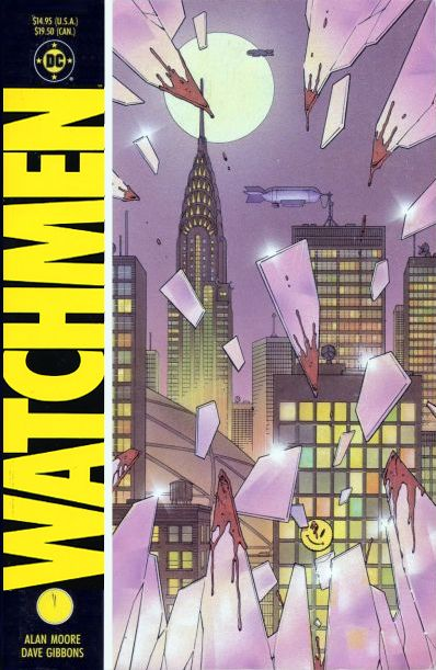 'Watchmen' book cover of city skyline with lit windows against purple sky with full pale moon seen through bloodied, jagged glass of broken window