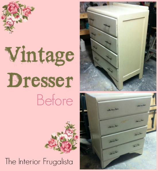 Vintage Waterfall Dresser before makeover