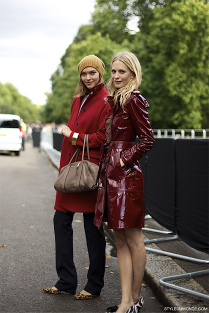 patent leather trench jacket street style