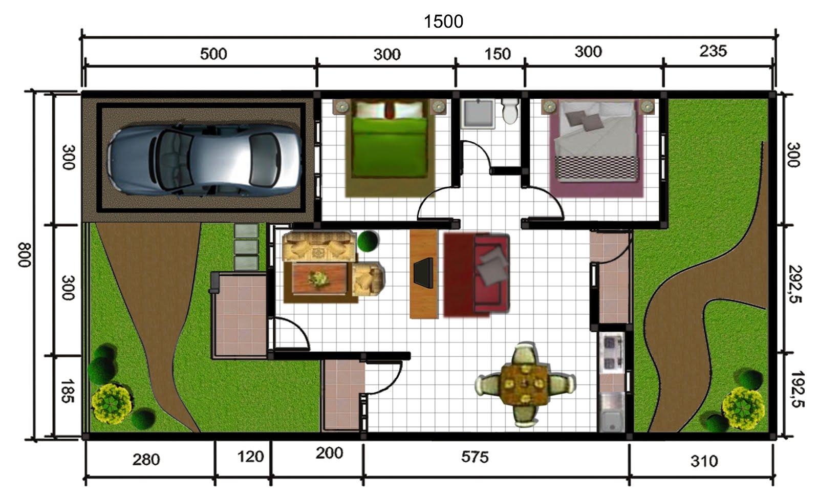 Denah Rumah Dengan Tanah Melebar Ukuran 15 X 8 REFERENSI RUMAH