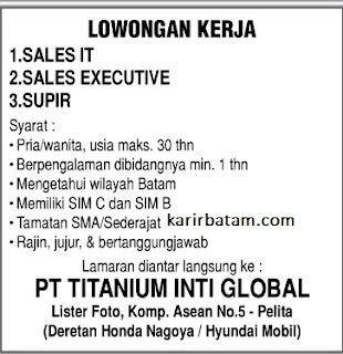 Lowongan Kerja PT. Titanium Inti Global