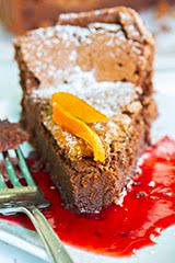 Flourless Chocolate Torte w/ Blood Orange Sauce