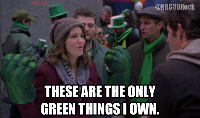 30 Rock These are the only green things I own! Celebrating St Patricks Day with Cats, Star Wars, Yoga... Ya Know, the Usual!  ;P  Plus, the #FridayFrivolity LINKY - the blog party where hosts comment, pin, tweet, and want to get to know you!