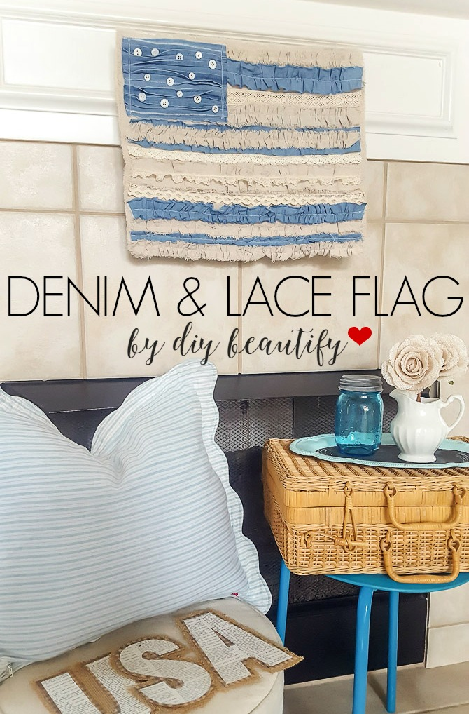 denim and lace shabby chic flag