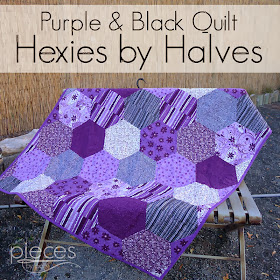 Purple and Black Giant Modern Hexies Quilt