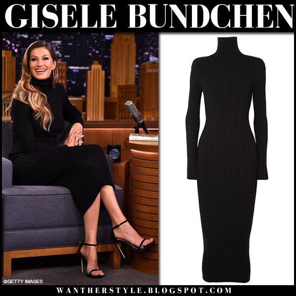 Gisele Bundchen in black high neck midi dress haider ackermann model style october 4