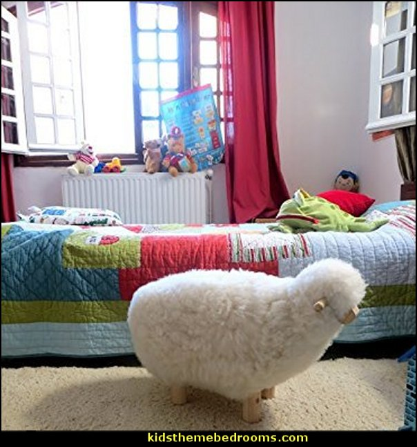 Childrens Sheepskin Stool  nursery rhyme bedroom ideas - Moon stars twinkle twinkle baby nursery decorating ideas -  storybook bedrooms - counting sheep baby bedroom ideas Humpty Dumpty decor - Mother Goose - moon stars baby bedding - Moon and Stars themed nursery - Nursery Rhymes wall murals - celestial themed baby nursery - moon stars wall stickers - stars clouds wall decals - moon stars baby bedroom ideas - moon stars nursery decor - magical baby unicorns - Nursery Rhyme lamb bed for toddlers counting ducks