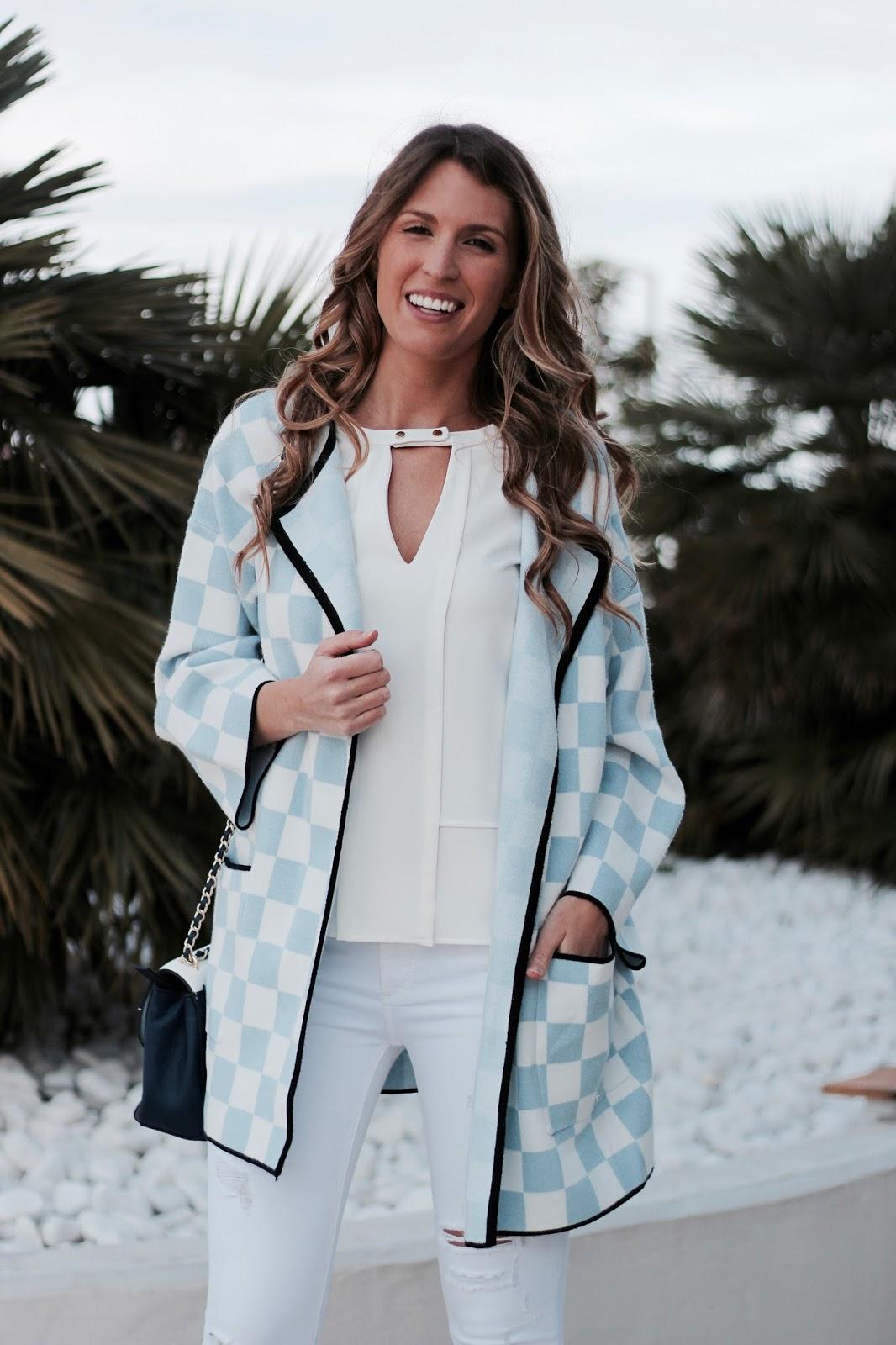 chaqueta cuadros azul y blancos