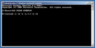 CMD - Perintah attribut pada CMD untuk memunculkan file yang terhidden