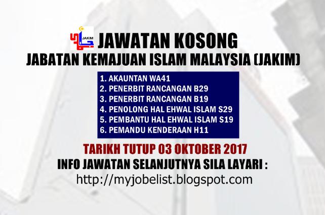 Jawatan Kosong Jabatan Kemajuan Islam Malaysia (JAKIM) Oktober 2017