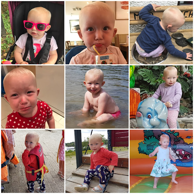 A collage of 9 pictures of my toddler: wearing sunglasses, drinking a juice box in Loch Fyne, sitting in the sink of her mud kitchen, sulking with make up on her face after having it taken away from her, sitting in the sea, on a merry go round elephant, wearing a life jacket, on a climbing frame and on a bouncy castle