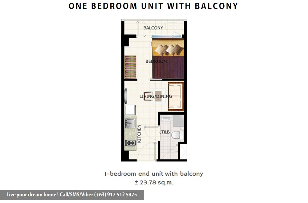 Floor Plan of SMDC Cool Suites Residences - 1 Bedroom End Unit With Balcony | Condominium for Sale Tagaytay Cavite