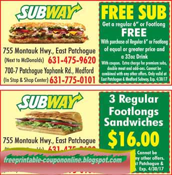 Subway coupons 2018 printable july