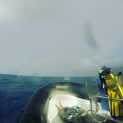 a photo of the diveboat with a rainbow on the background, by Ellis Derkx
