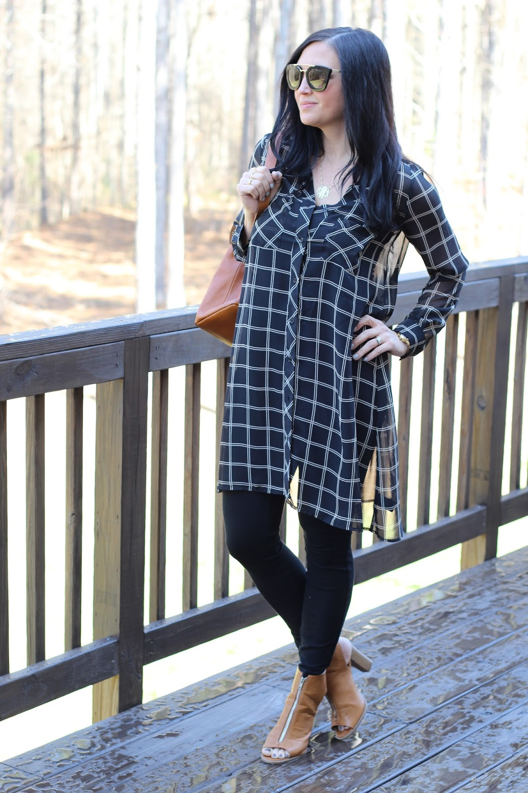 Sheer black tunic, Tan peep toe booties