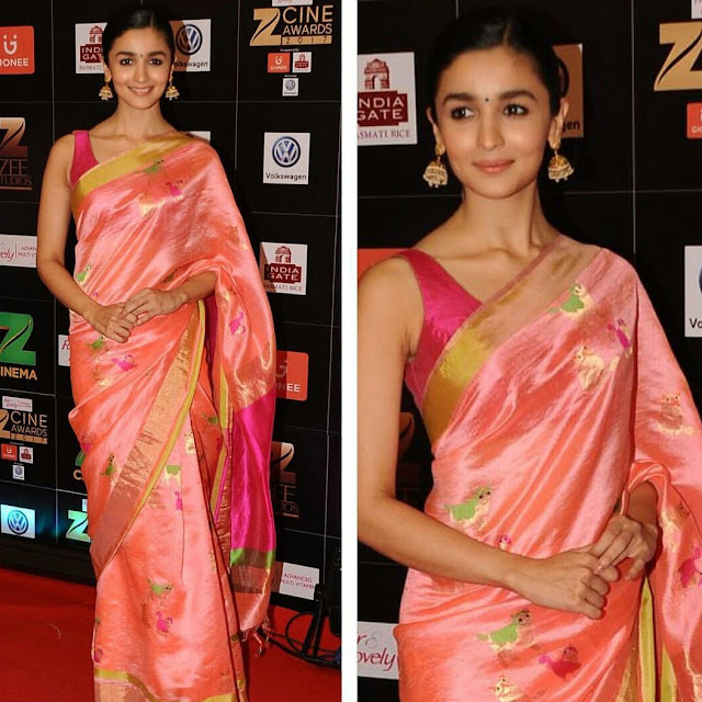 Alia Bhatt In A Sari Look At Zee Cine Awards 2017