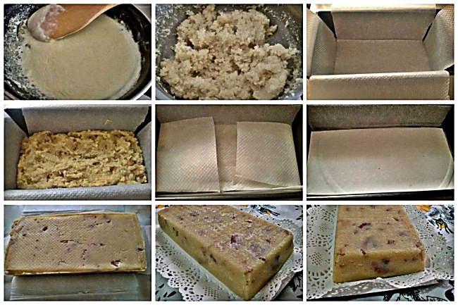 Preparación del turrón de nata y nuez con vainilla