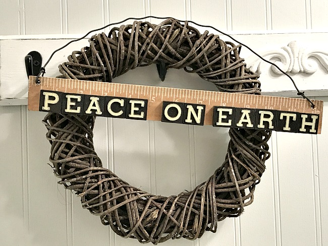 Peace on earth sign for wreath