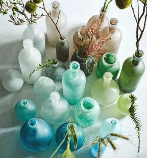 West Elm Seaglass Bottles