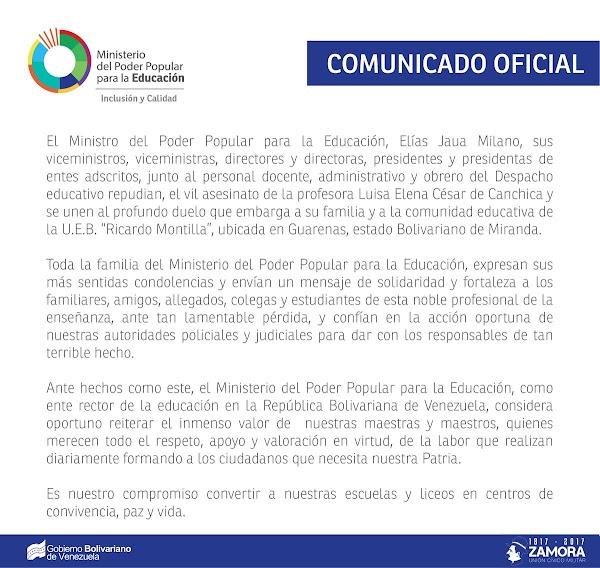 COMUNICADO OFICIAL MPPE EDUCACIÓN repudia asesinato de la profesora Luisa Elena César de Canchica