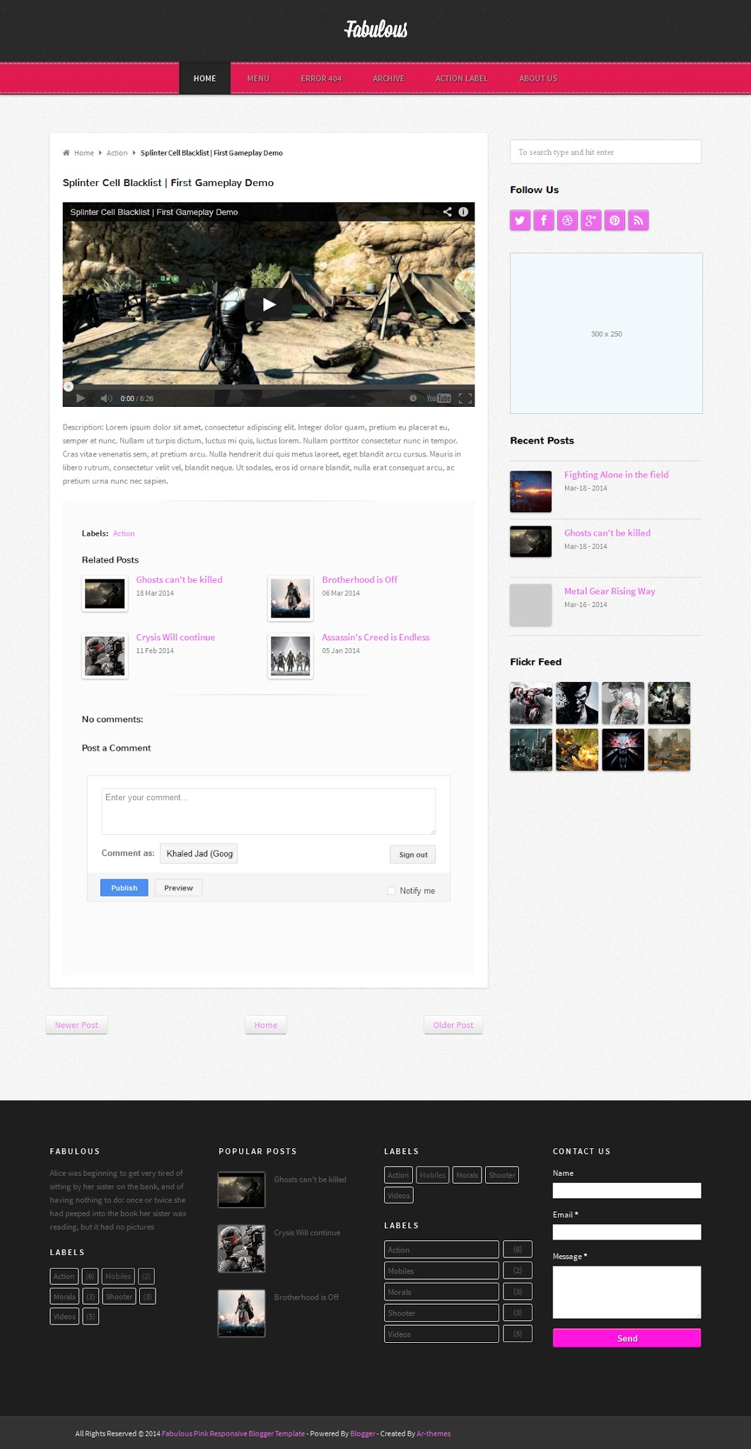 Fabulous Responsive Blogger Template Demo