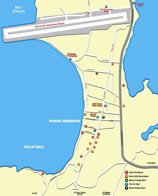 Gambar Peta Kuta Jimbaran, Bali