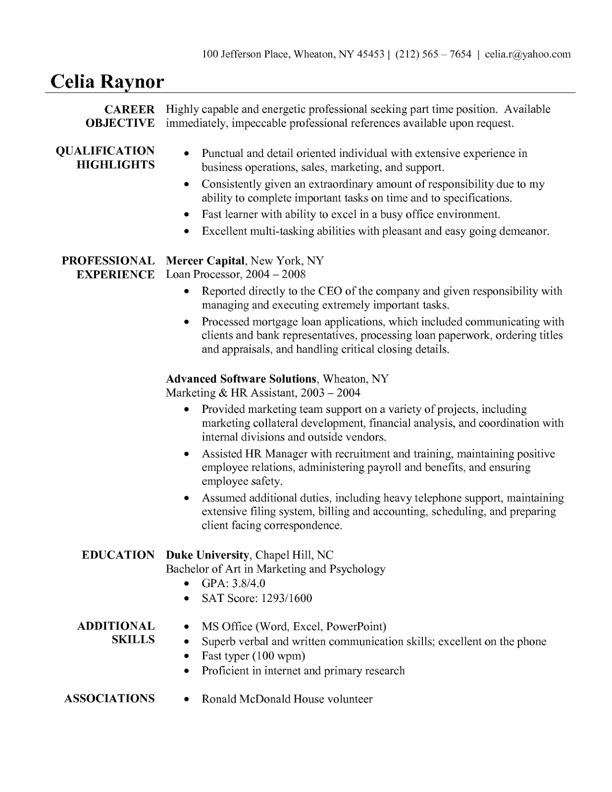 sample resume for a nurse and business administrator