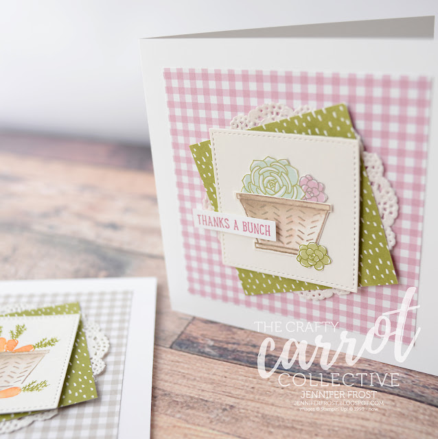 Basket Bunch, Thank you card, Succulent Garden DSP, The Crafty Carrot Co, Customer rewards program, Papercraft by Jennifer Frost